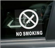 1 x No Smoking For Car WINDOW Stickers with Text-Vehicle Self Adhesive Warning Signs-Health and Safety-Car,Taxi,Minicab,Van,Taxi,Cab,Bus,Coach,Minibus
